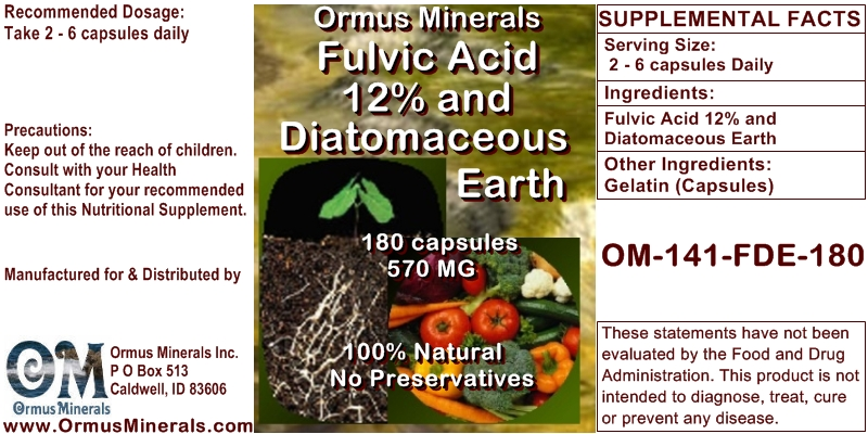 Fulvic Acid Minerals and Diatomaceouse Searth